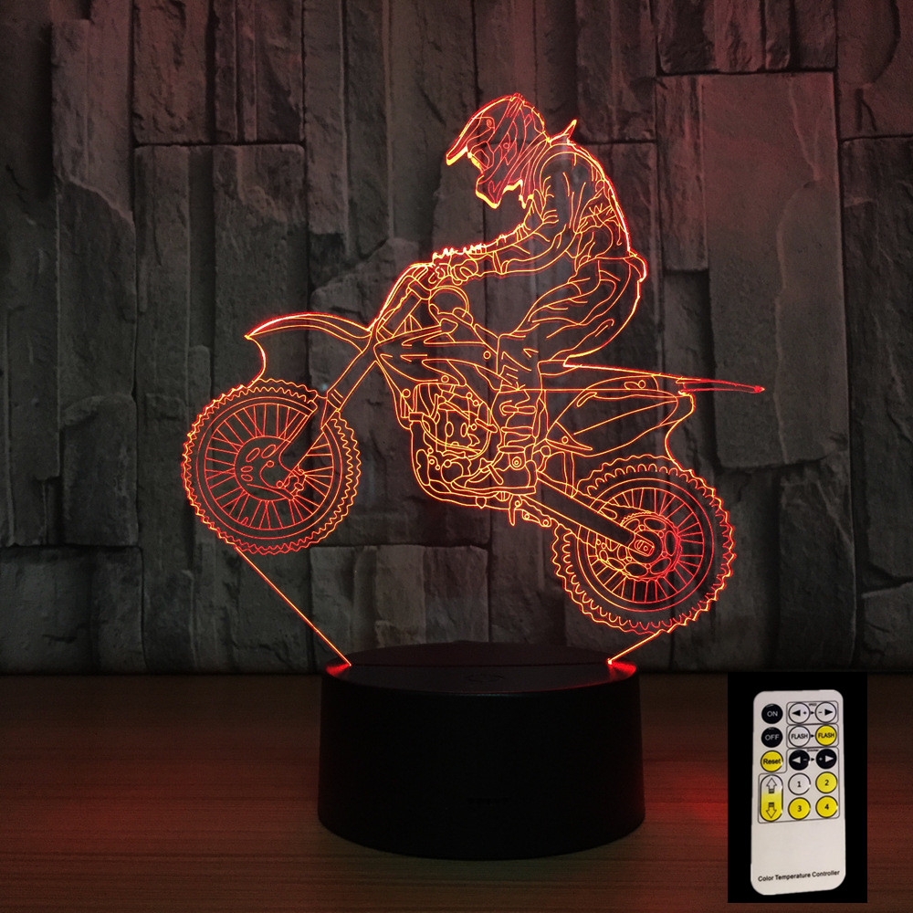 3D Motocross Bike Night Remote Touch Control Illusion Table Lamps 7 Colors USB Change Desk Lamp Lamp Night light Kids's Gift remote control bowling ball 3d light led table lamp optical illusion bulbing night light 7 colors changing mood lamp usb lamp
