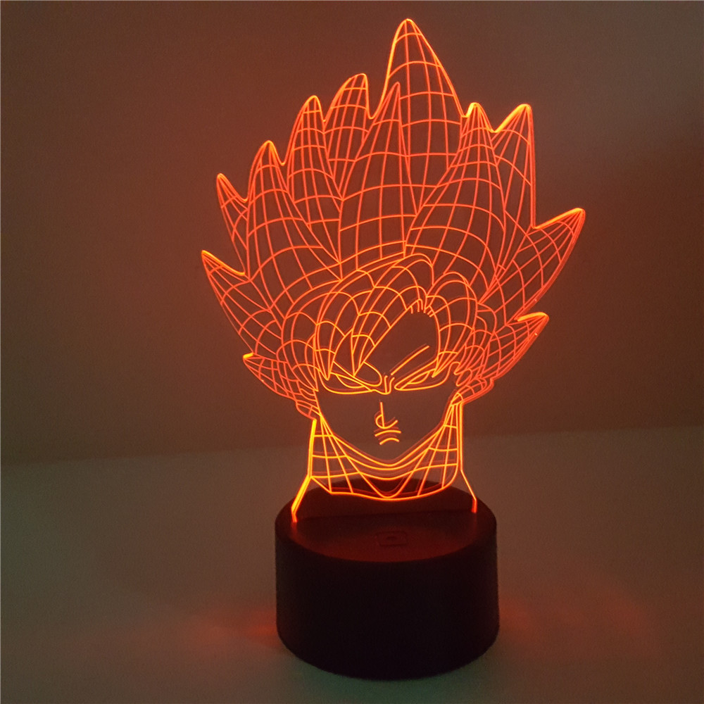 Bright Dragon Ball Broly 3d Rgb Color Changing Led Nightlight Visual Illusion Usb Dragon Ball Super Saiyan Action Figure Anime Dbz Toy Lights & Lighting