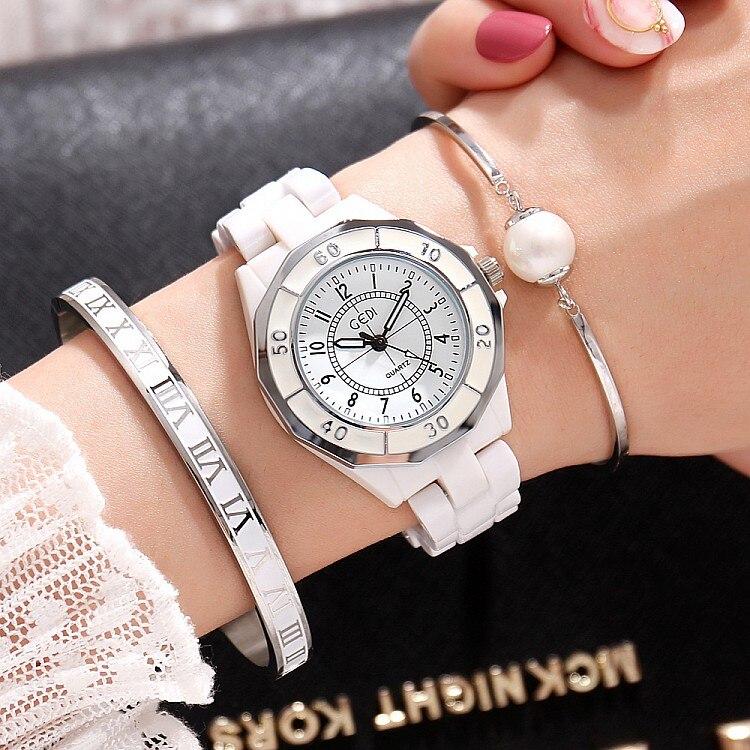 GEDI Fashion White Ceramics Women Watches Top Luxury Brand Ladies Quartz Watch 3 Pieces Bracelet Watch Relogio Feminino Hodinky