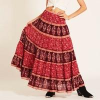 Vintage inspired Maxi Skirt Crimson Wisteria Print Bohemian Skirts High Waist Hippie Casual Hem Beach Skirt Saia Female Faldas