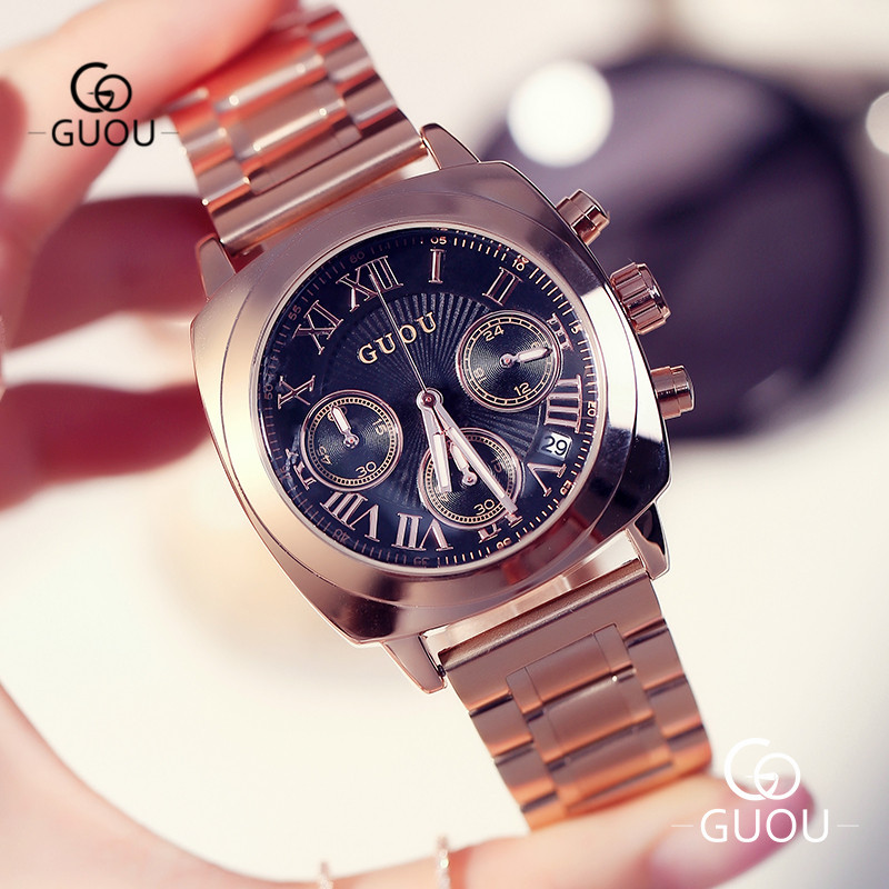 GUOU Fashion Square Women's Watch With Calendar Big Dial Rose Gold Steel Band Water Proof Ladies Analog Quartz Wristwatch 8131G