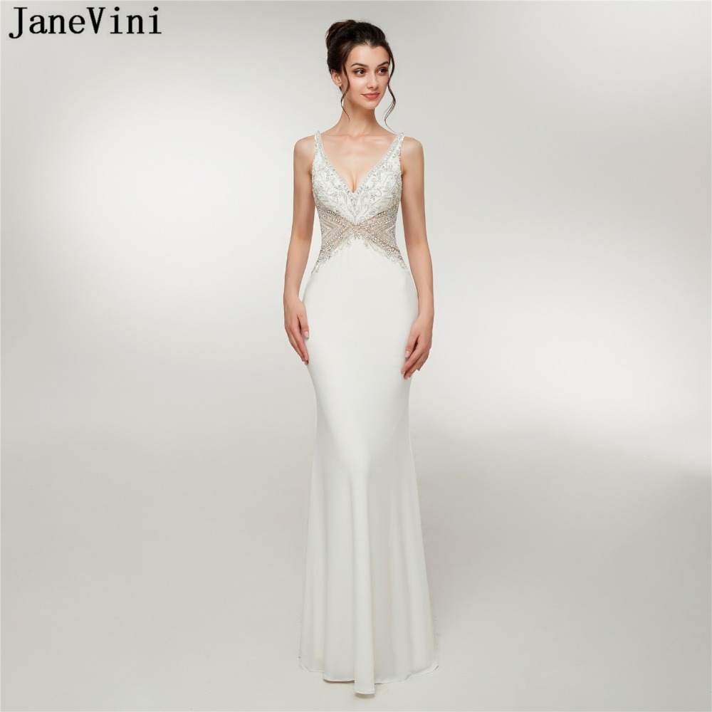 JaneVini Luxury Beading Crystal White Satin Bridesmaid Dresses Sexy Deep V Neck Backless Mermaid Long Prom Gowns Floor Length