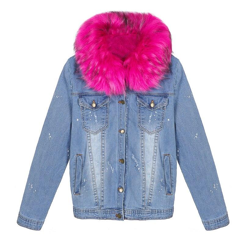 Korean Winter Jacket Women 2017 Ladies Faux Fox fur Lined Denim ...