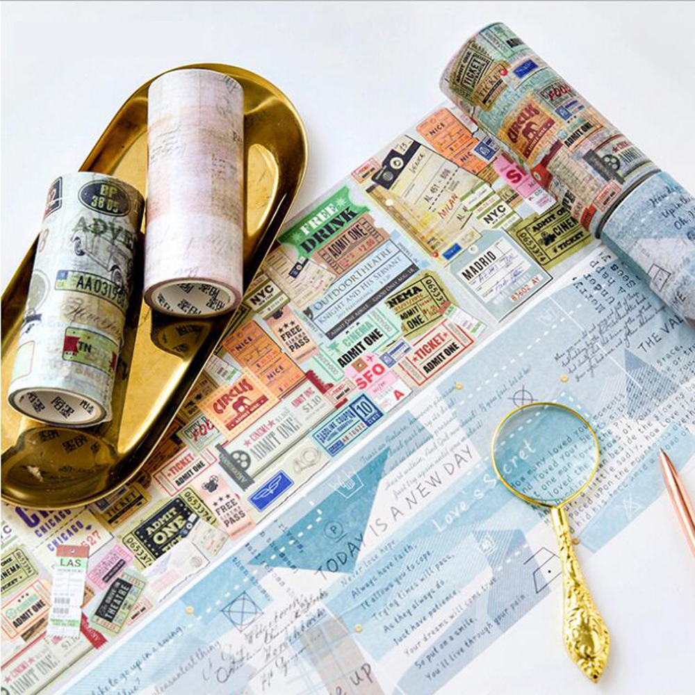 10cm*5m Creative Vintage Series Washi Tapes Notebook Phone Wall Decoration Supply Accessory Paper Tape creative spider paper lantern halloween supply party decoration