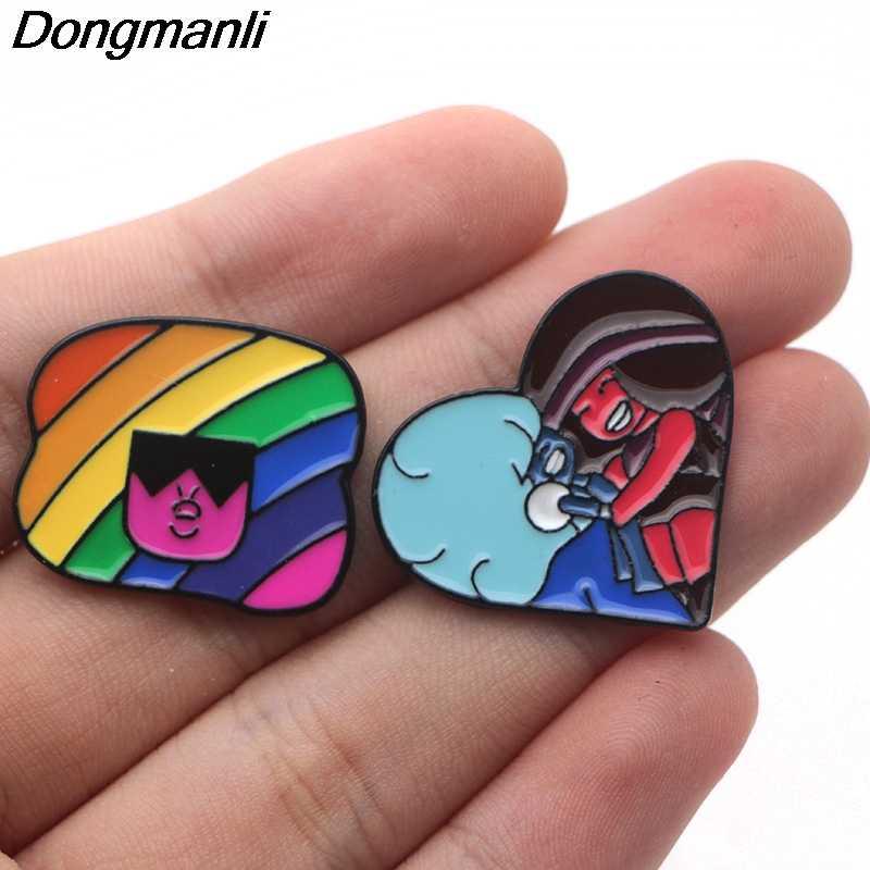 P3681 Dongmanli Cute Logam Enamel dan Bros untuk Lapel Pin Tas Ransel Lencana Hadiah Keren