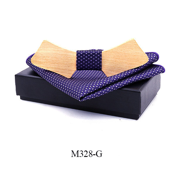 Printing Floral Personality Wood Bow Ties Hanky Set For Mens Wedding Suits