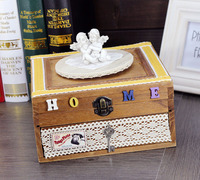 The Music Box Wooden Clockwork Home Furnishing Gift Idea Angel Cosmetic Box Boutique Jewelry Box Lock