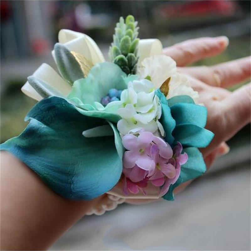 5 pcs/ lot DIY calla lily Bride Wrist Flower Corsage Wedding Flower Groom suit Best man Boutonniere pin Wedding party decoration