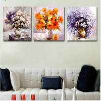 Vintage Home Decor Warm Flowerpictures Painting By Numbers Three Picture Combination Oil Painting On Canvas Triptych