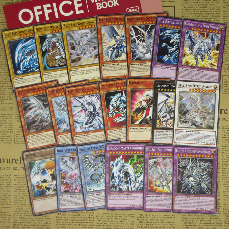 20pcs Blue-Eyes White Dragon Series Proxy Cards Kaiba Fans Cospaly BlueEyes Archetypes Fusion Synchro Token Yugioh Replica Orica