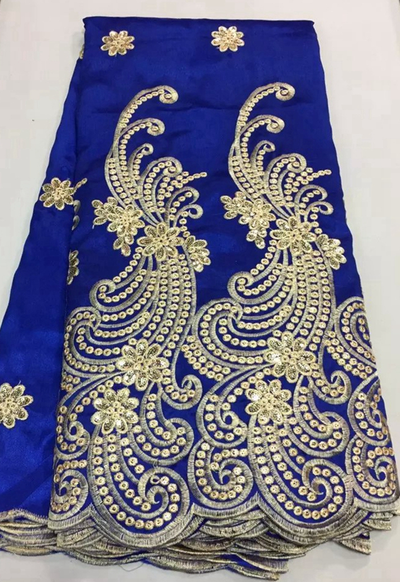 Blue Print Store >> New Embroidered African chemical George lace fabric Nigeria guipure fabric royal blue gold ...