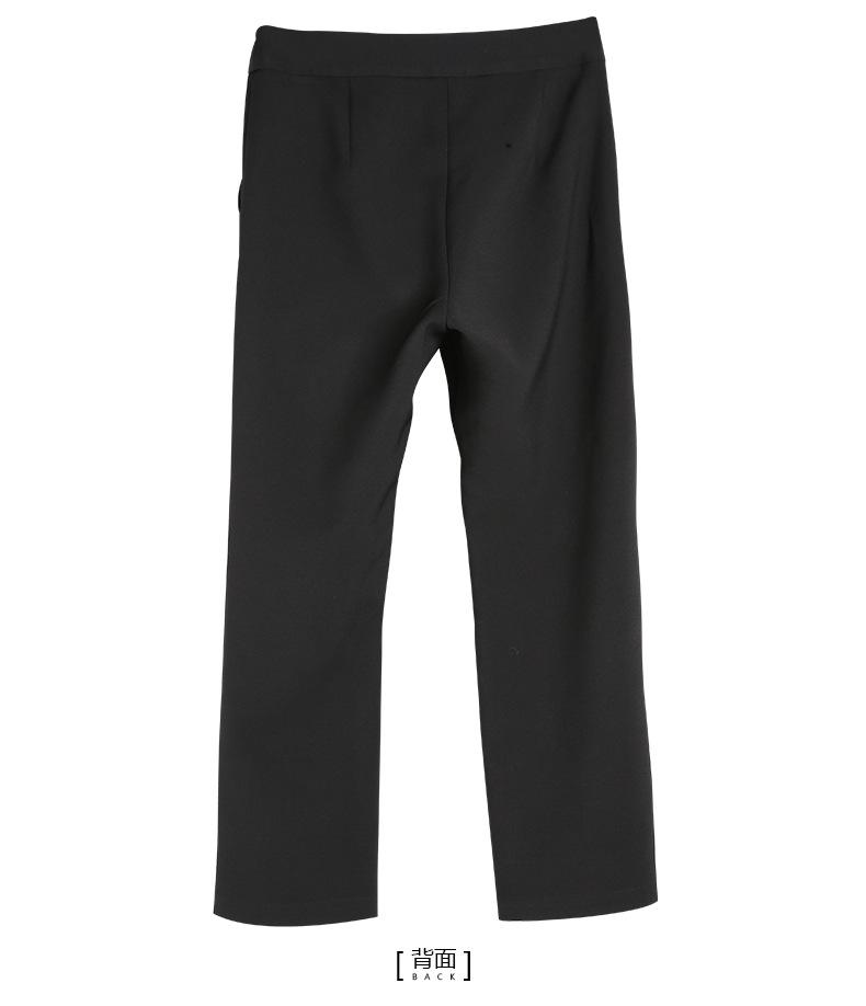 bootyjeans spring 2018 new European high-end women's slim black all-match split ankle length pants casual bottom pants 38