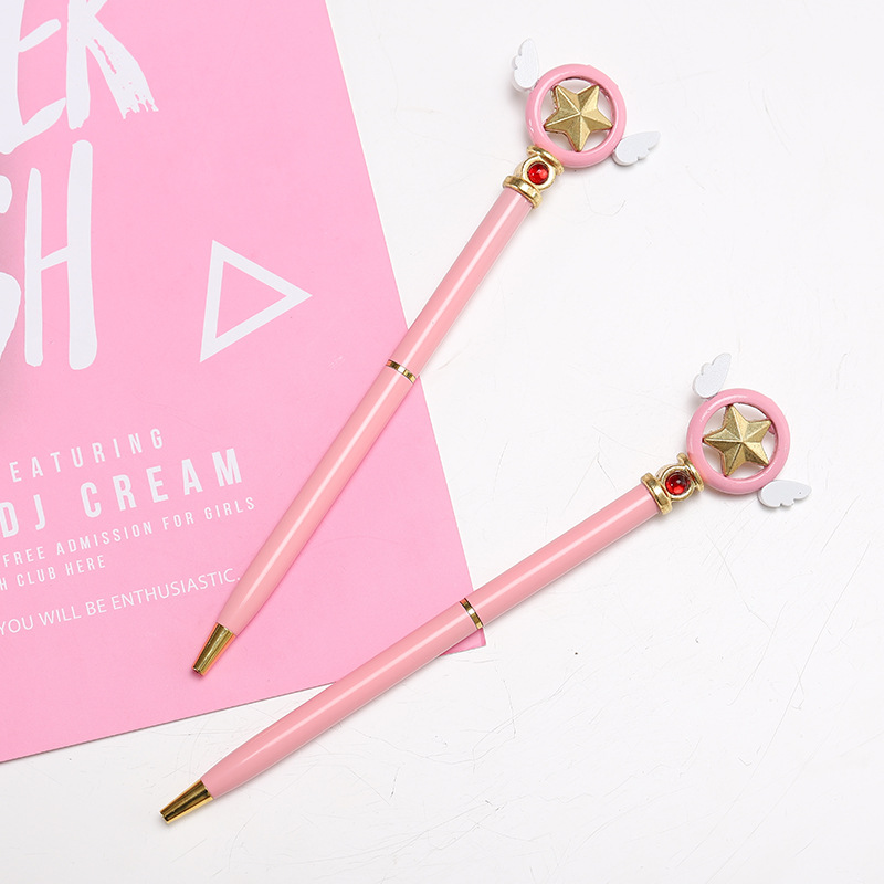 1Pcs Cute Pink Pen Anime Star Popular Anime Cardcaptor Sakura Star Key Ballpoint Ball Pen Ballpen School Stationery