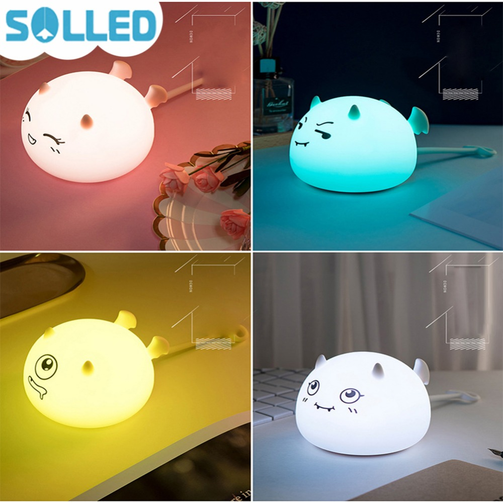 SOLLED Cute Air-operated Night Light Nursing Lamp Silicone Soft Cartoon Pat lights Kids  ...