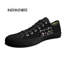 INSTANTARTS Hot Selling Fashion Male Canvas Shoes Flats BTS Pattern Spring Man Breathable Casual Shoes for Teen Student Big Size