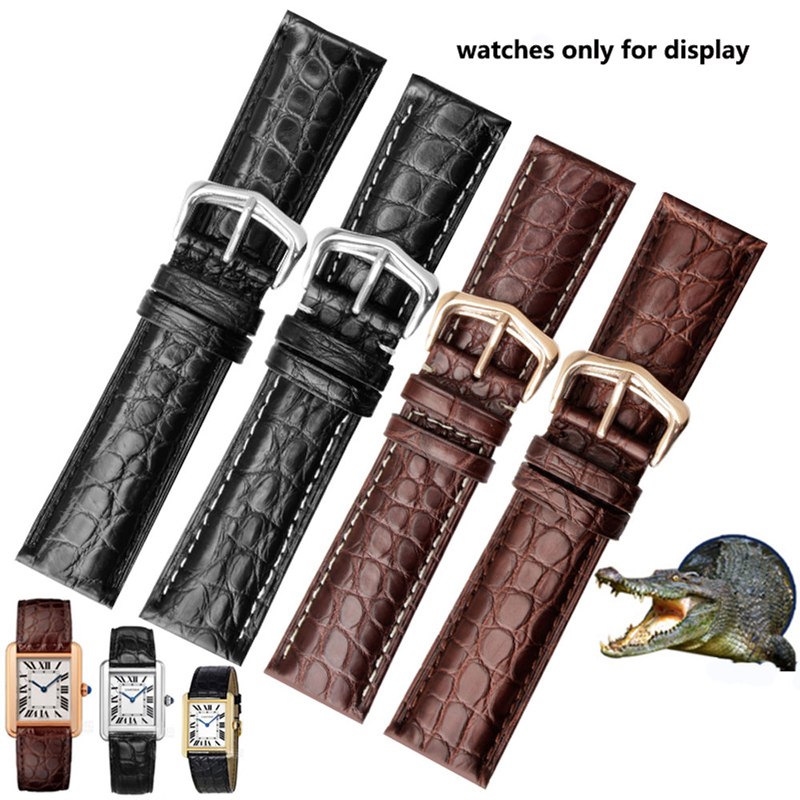 PEIYI Watchbands Quality Alligator Strap 20 22 23 25 mm Dermal Watch Chain Replace Cartier Tank SOLO Caleb Men's|Watchbands| |  - title=