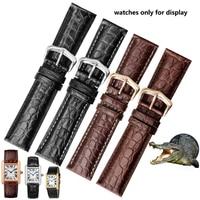 PEIYI Watchbands Quality Alligator Strap 20 22 23 25 mm Dermal Watch Chain Replace Cartier Tank SOLO Caleb Men's