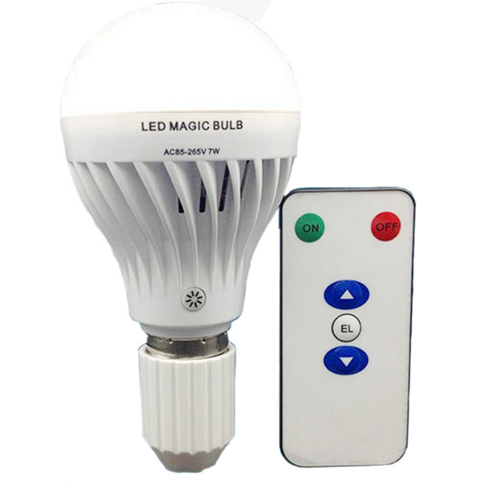 Isi Ulang Lampu LED Bulb 7 W E27 dengan Remote Kontrol Dimmable LED Remote Rechargeable Lampu LED Magic Bohlam Emergency Lampu