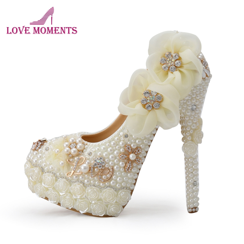 Exclusive New Style Wedding Shoes White Pearl High Heel Platform Bridal Wedding Pumps Luxurious Rose Flower Diamond Prom Shoes new flower female bridesmaid shoes wedding shoes bridal shoes red high heeled shoes formal dress new arrive platform pumps