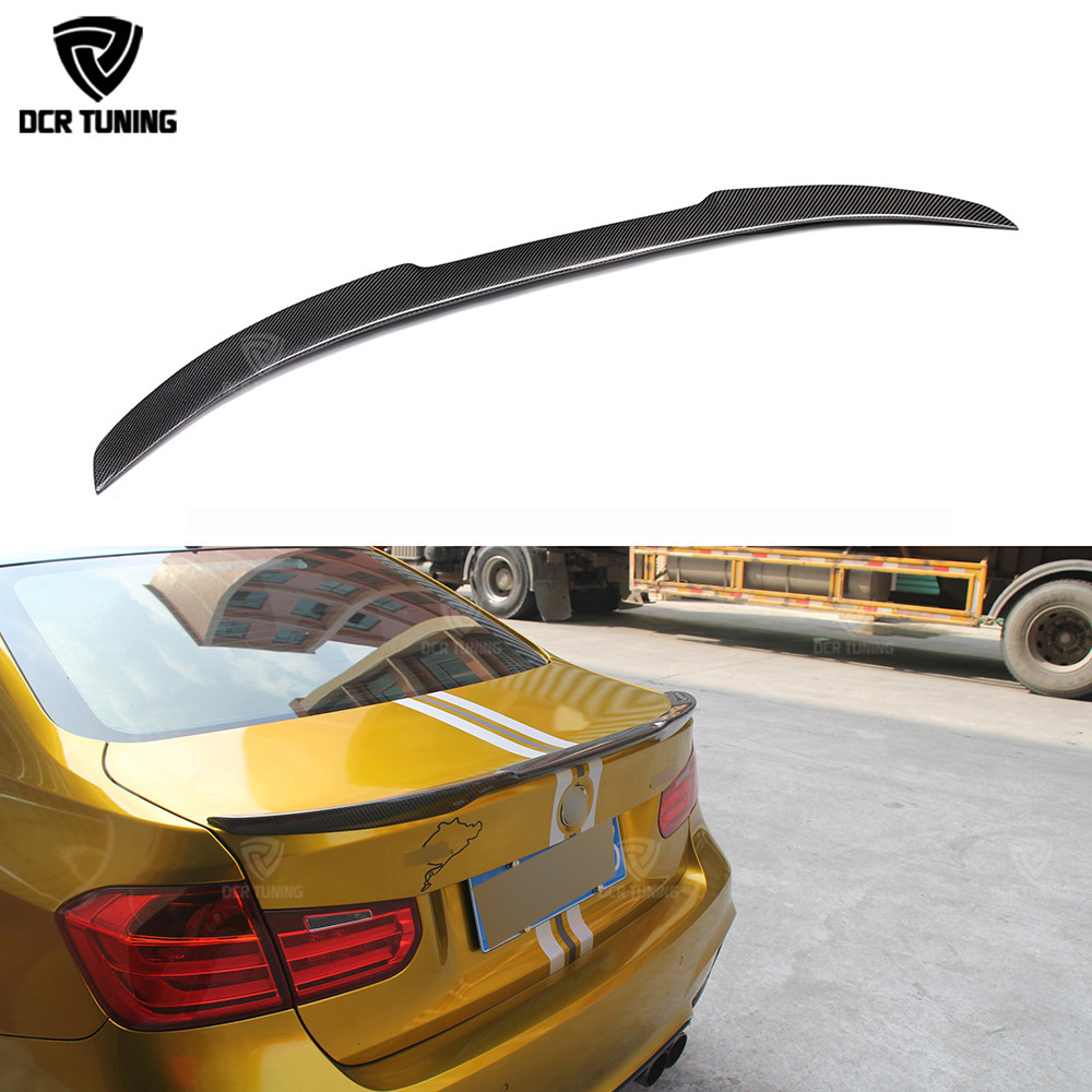 For bmw F30 carbon spoiler M4 style 320i 328i 335i 326d and F80 M3 2013 2014 2015 2016 - UP F30 sedan carbon fiber wing spoiler carbon fiber rear spoiler trunk boot lip wing for bmw 3 series f30 320i 325i 328i 335i sedan 4 door 2013 2016 car tuning parts