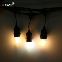 SXZM 10M 10LED Waterproof Commercial Outdoor Grade String Lights E27 Filament Bulb Street Garden Patio Backyard