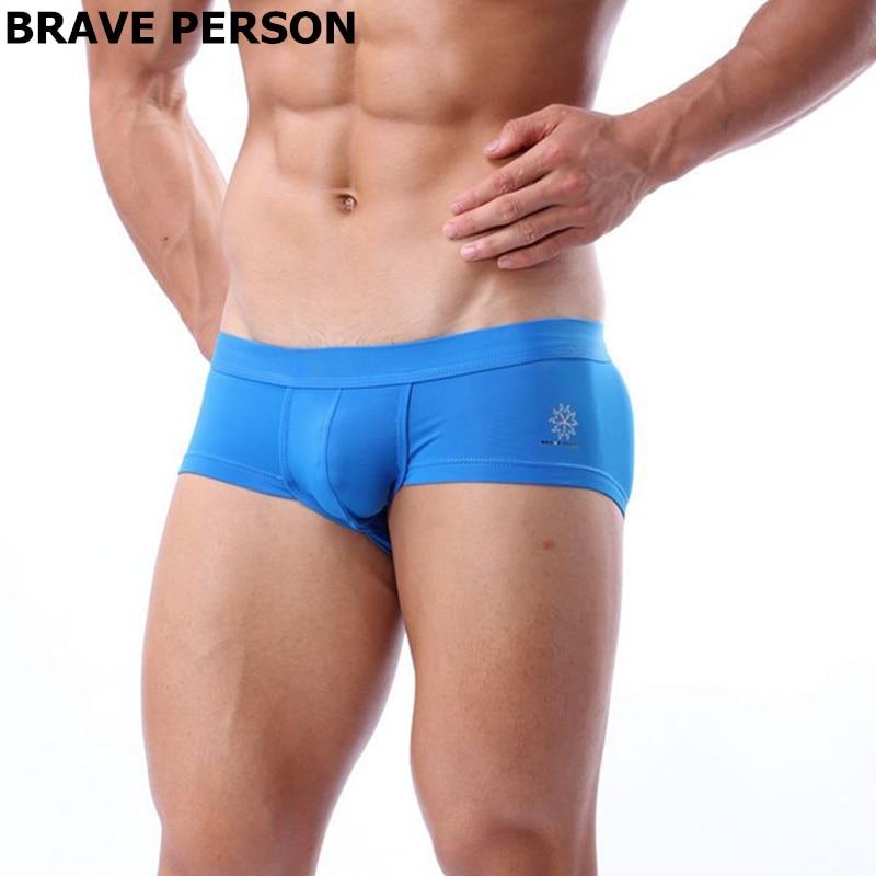 BRAVE PERSON Mens Underwear Boxer Shorts High-quality Low-waist Nylon Underpants Men Boxers Trunks 4 Color Size S M L
