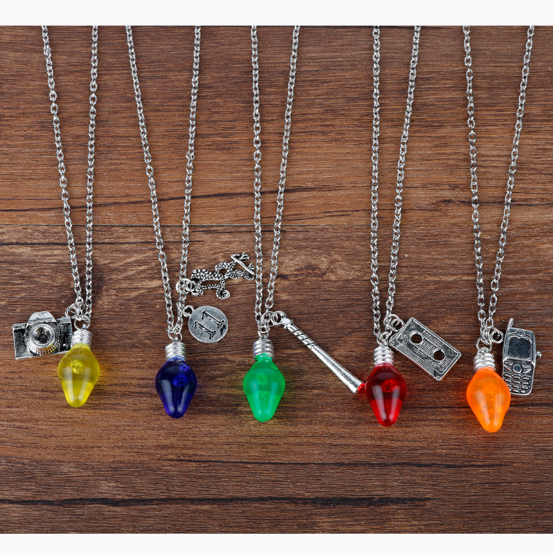 MQCHUN Fashion Jewelry Gift For Women Stranger Thing Tape Camera Pendant Necklace Christmas Tree Light Bulb Girl Necklace