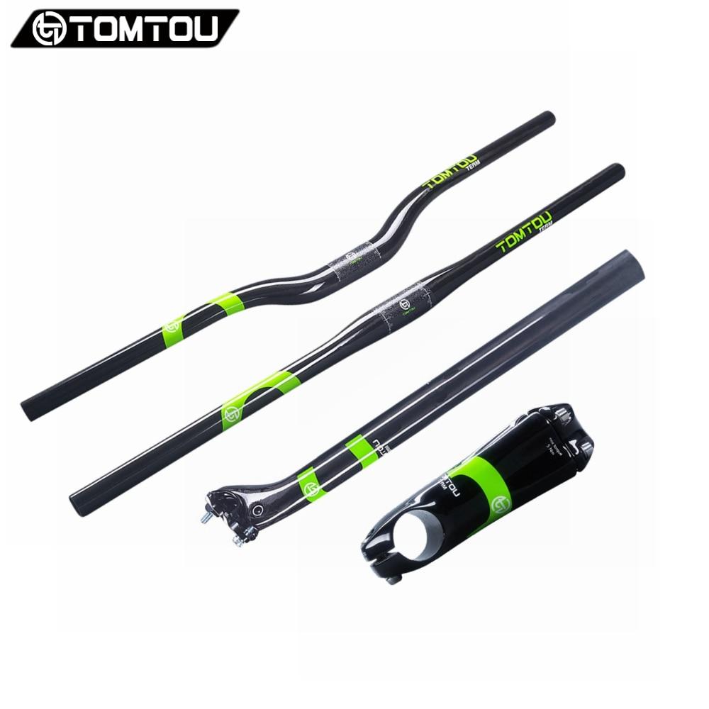 Ensemble guidon carbone TOMTOU accessoires vélo vtt pièce de vélo carbone UD complet tige de guidon plat/Riser + tige de selle vert-TC3T16