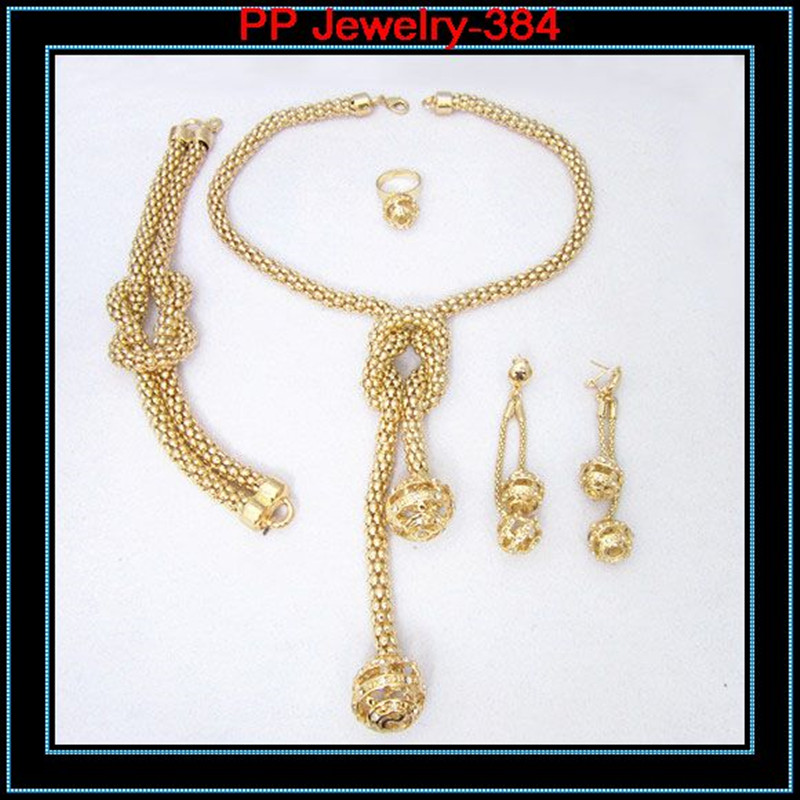 High Quality Gold Color Ball Pendent Luxury Wedding Bridesmaid Costume Jewelry Set