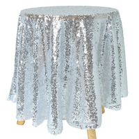 Tablecloth 100% Brand New High Quality Silver Reusable Delicate Edge Flash Round Sequins Banquet Table Cover #4M08