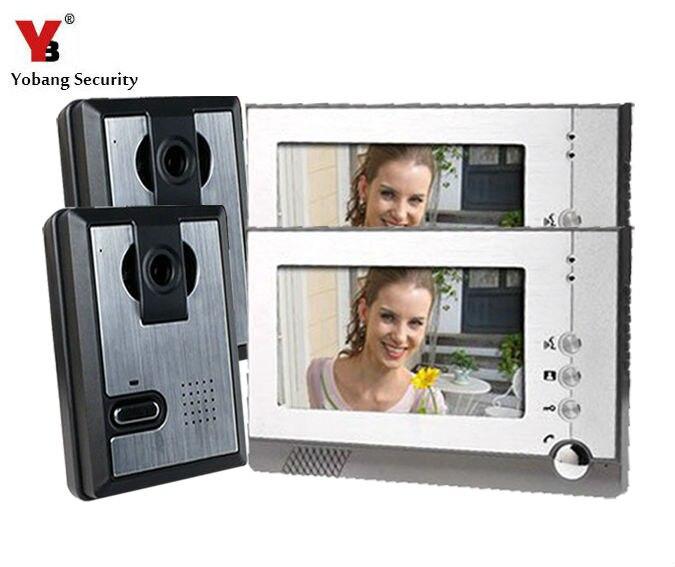 Yobang sécurité livraison gratuite 7 pouces couleur vidéo porte téléphone sonnette vidéo Interphone système Interphone Visiophone horloge murale caméra