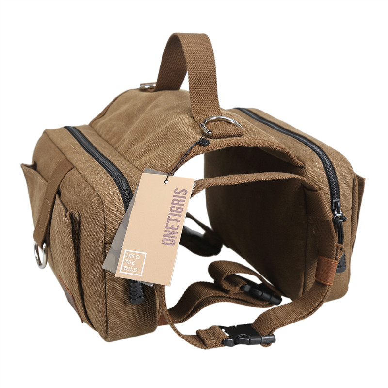 ФОТО OneTigris Cotton Canvas Dog Backpack Hound Saddle Bag Rucksack with Dog Leash for Border Collie Cane Corso Great Dane Pit Bull