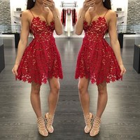 BONJEAN Sexy Red Lace A line Cocktail Dresses 2019 Elegant Spaghetti Strapls Short Mini Party Dress Backless Homecoming Dresses