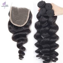 Malaysian Loose Wave Bundles With Closure 100% Human Hair Modern Show Weave 4/5 Pcs Extension Remy 3/4 Bundles With Closure Hair(China)