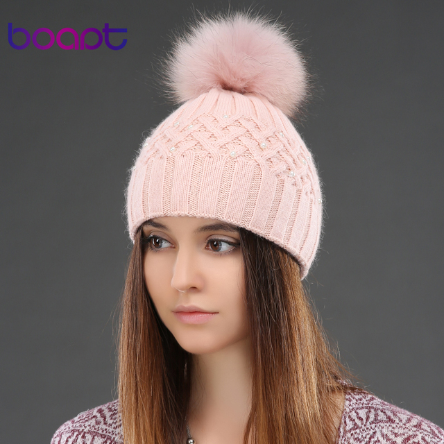 BOAPT Genuine Natural Raccoon Fur Winter Rabbit Double-deck Velvet Hats For Women Pearl Embed Caps Female Skullies Beanies
