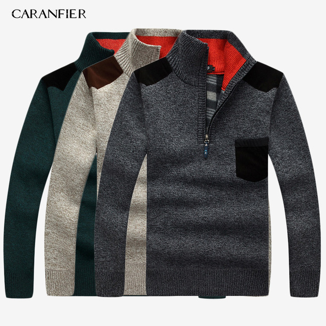 CARANFIER 3PC SNew 2019 Mens Sweaters Thick Warm Winter Zipper Pullover Cashmere Wool Sweater Men Knitwear Homme Plus Size 3XL