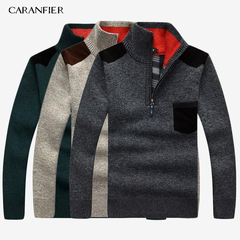 CARANFIER 3PC SNew 2019 Mens Sweaters Thick Warm Winter Zipper Pullover Cashmere Wool Sweater Men Knitwear Homme Plus Size 3XL