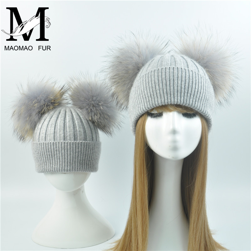 Parent-child Baby Hats 2PCS Mother And Baby Warm Winter Knitted Hats Double Fur Pom Pom Beanie Hats