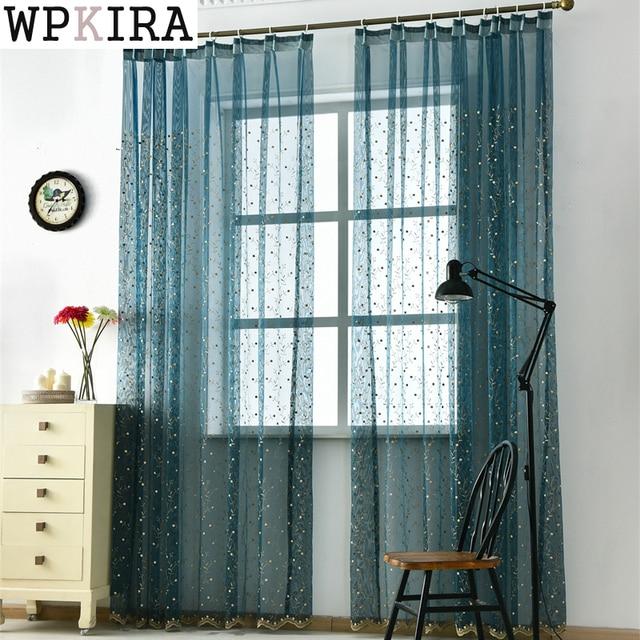 € 9.55 20% de réduction Bleu brodé transparent Tulle rideau salon chambre  Voile blanc rideaux tissu rideaux fenêtre 120 & 20 dans Rideaux de Maison &  ...