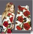 Платье девушки роуз цветочный узор платья принцесса европейский стиль девочка платье дизайнерский бренд детской одежды 2-8Y
