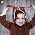 Wholesales 4pcs/lot 2016 3D Deer Ear Baby Boys Knitted Sweater Christmas Costume Children Girls Crochet Cardigan Clothes For Kid