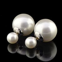 9 Free Shipping 925 Sterling Silver Double Sides Pearl Earrings Studs Jewelry For Women
