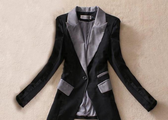 XXXL Новая мода весна лето женская верхняя одежда тонкий Длинный блейзер черный серый офис леди пальто - Цвет: Черный