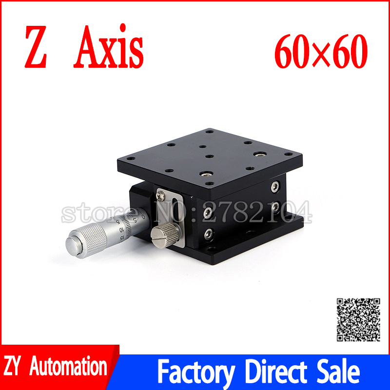 Z Axis 60*60mm Optical Displacement Platform High Precision Micrometer Height Adjustable Sliding Stage Sliding Table LZ60
