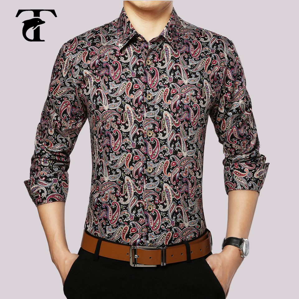 2017 long sleeve floral men shirt cotton fashion turn down for Mens printed long sleeve shirts