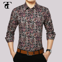 2017 Long Sleeve Floral Men Shirt Cotton Fashion Turn-down Collar Button Mens Clothing Vintage Print Mens Dress Shirts