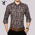 2017 camisa dos homens do algodão moda floral manga longa turn-down collar botão mens clothing camisas de vestido dos homens da cópia do vintage