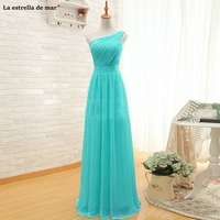 fc0d9ae998561f Robe Demoiselle D Honneur Elegant Cheap One Shoulder Pleated Top Part A  Line Long Chiffon Turquoise