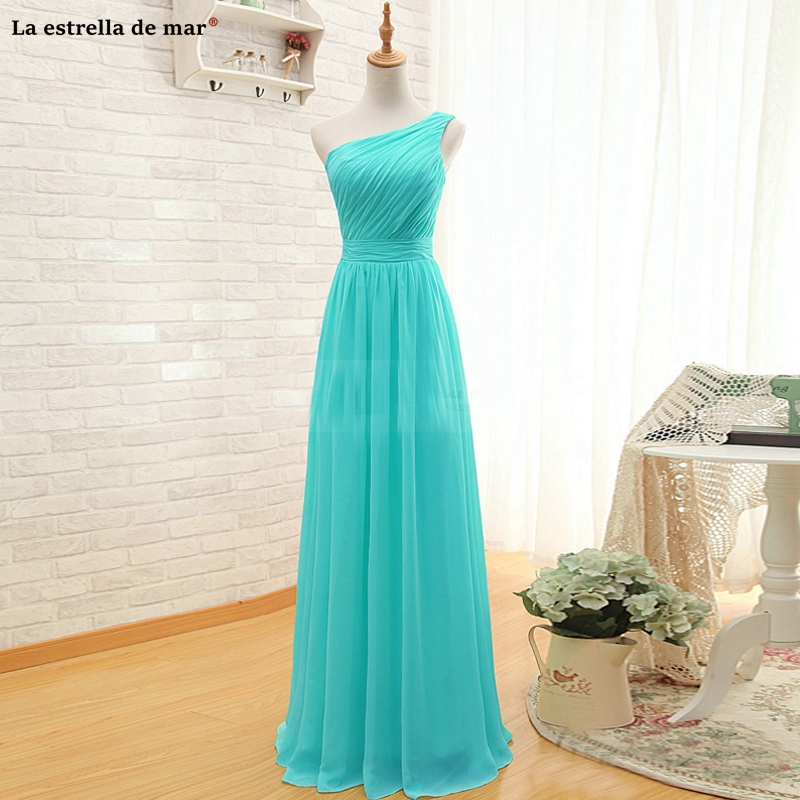 Long   dress   for wedding party for woman2019 new chiffon one shoulder A Line turquoise yellow blush   bridesmaid     dress   vestido madri