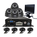 "Free Shipping 4CH 720P AHD Real-time Recording Dual SD Mobile Car DVR Recoder Kit + 4 Pcs IR Dome In-car Camera + 7"" Car Monitor"